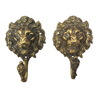Victorian Brass Lion Ahead Hooks - a Pair