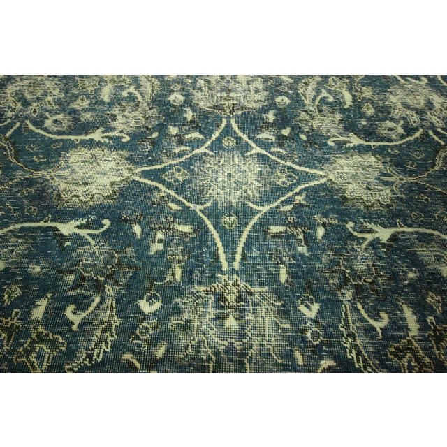 """Oriental Overdyed Tabriz Floral Rug - 9'2"""" x 10'2 - Image 6 of 11"""