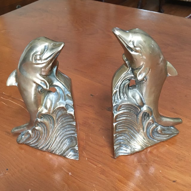 Hollywood Regency Brass Dolphin Bookends - A Pair - Image 2 of 6