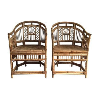 Rattan Chippendale Style Armchairs & Table Set