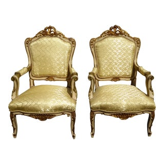 Vintage Louis XV Gold Silk Accent Chairs - Pair