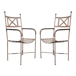 Pair Vintage Neoclassical Regency Style Iron X Form Stretcher Garden Arm Chairs