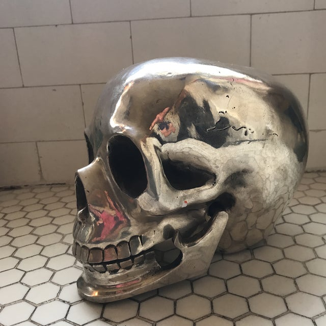 Large Vintage Silver Metal Skull - Image 5 of 11