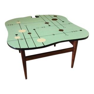 Custom Wavy Teak Side Table