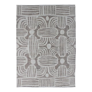 """Hand Knotted Gray & White Ikat Rug by Aara Rugs In. - 8'2"""" X 10'"""