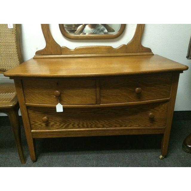 Solid Oak Antique Dresser/Vanity - Image 7 of 7
