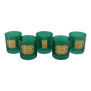 Green On The Rocks Glasses, Set of 5
