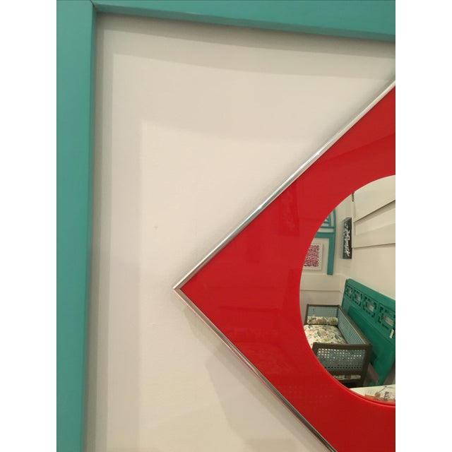 Image of Carvers Guild Convex Mirror of Red Lucite and Chrome
