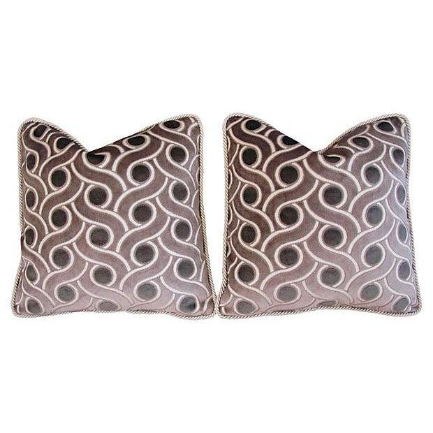 Custom Osborne & Little Cut Velvet Pillows - Pair - Image 7 of 7