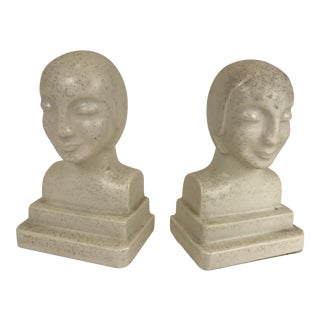 French Art Deco Stoneware Bookends - A Pair