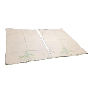 Vintage Green Embroidered White Pillowcases - A Pair