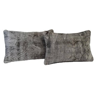 Gray Lumbar Over-Dyed Rug Pillow Covers - A Pair