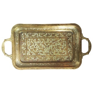 Vintage Enameled Brass Tray from India