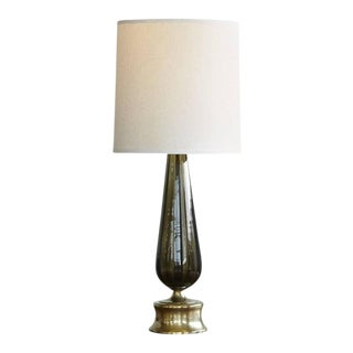 Large Blown Glass Table Lamp on Brass Base