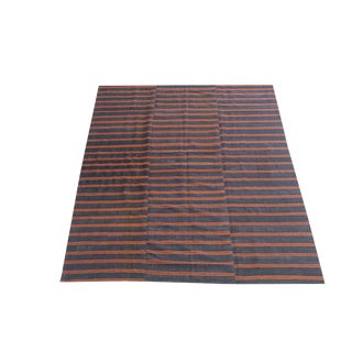 Vintage Turkish Multi Color Striped Handmade Flatweave Rug - 6′2″ × 8′11″