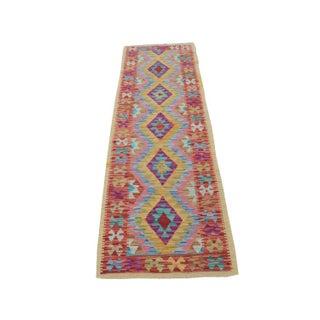 """Afghani Kilim Flatweave Wool Runner Rug Size 1'9""""x6'3"""""""