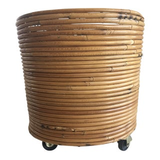 Round Rattan Planter on Casters