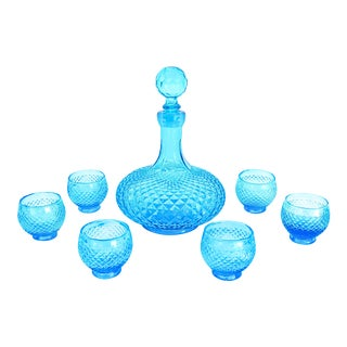 Mid-Century Empoli Turquoise Glass 7-Piece Party Barware Set