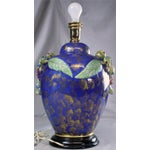 Image of Italian Majolica Hand-Painted Blue Table Lamp