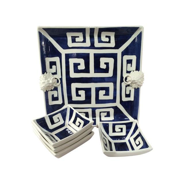 Mane Lion Greek Key Ceramic Platter & Four Bowls - Image 1 of 4