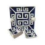 Image of Mane Lion Greek Key Ceramic Platter & Four Bowls