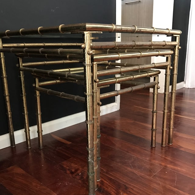 Vintage Faux Bamboo Brass Nesting Tables - Set of 3 - Image 3 of 9