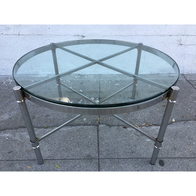 small chrome glass cocktail table chairish