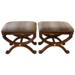 Image of Neoclassical Animal Print Benches - A Pair