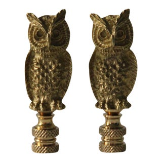 Brass Owl Lamp Finials - A Pair