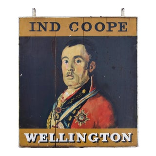 "33"" X 39"" Large Vintage Hand-Painted English Wellington Pub Sign"