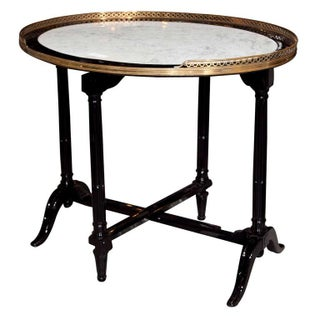 French Marble Top Ebonized Tilt Top Table
