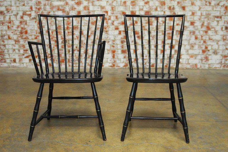 Pair Of Black Lacquer And Faux Bamboo Windsor Chairs By Nichols And Stone    Image 2