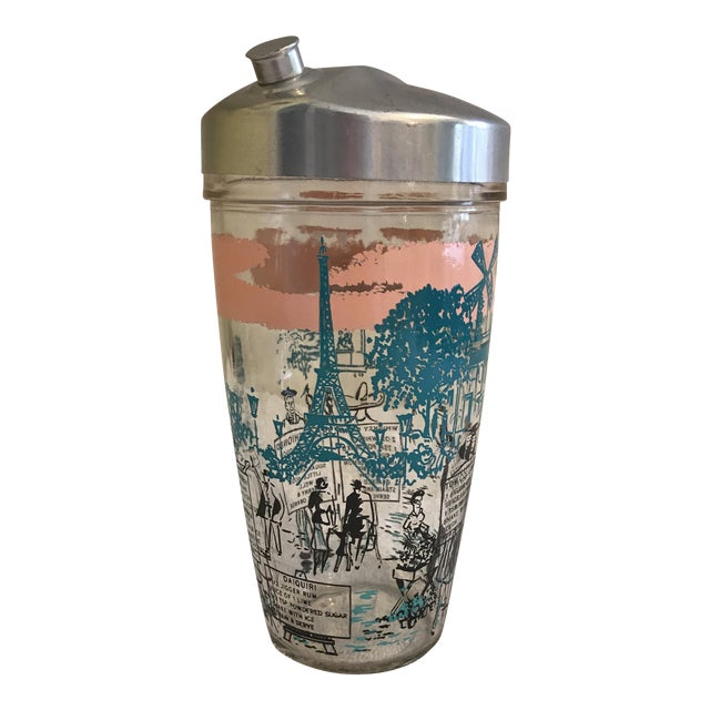 Image of Mid-Century French Motif Cocktail Shaker