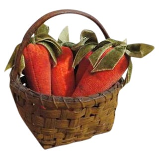 19th Century Original Mustard Painted Tiny Basket with Mini Velvet Carrots