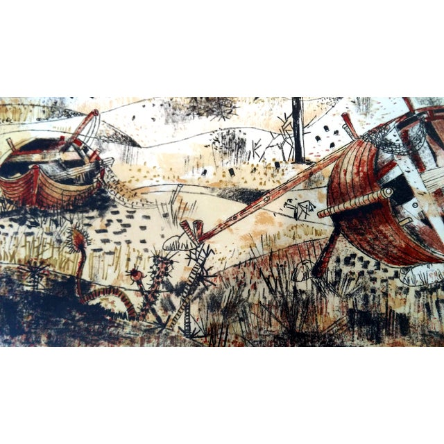 """Image of Federico Righi """"Beached Rowboats"""" Serigraph"""