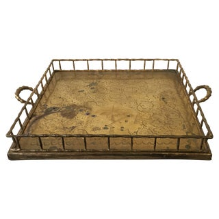 Large Bamboo Motif Brass Tray