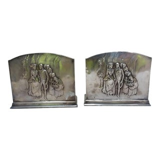 Silver Plated Romantic Themed Bookends
