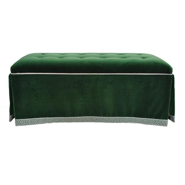 Century Emerald Velvet Tufted Bench - Image 2 of 4