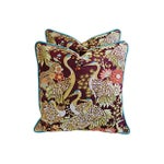 Image of Colorful Embroidered Crane Pillows - Pair