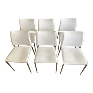 Modern White Leather Dining Chairs - Set of 6