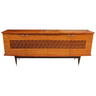 French Art Deco Light Macassar Ebony Sideboard / Buffet Circa 1940s