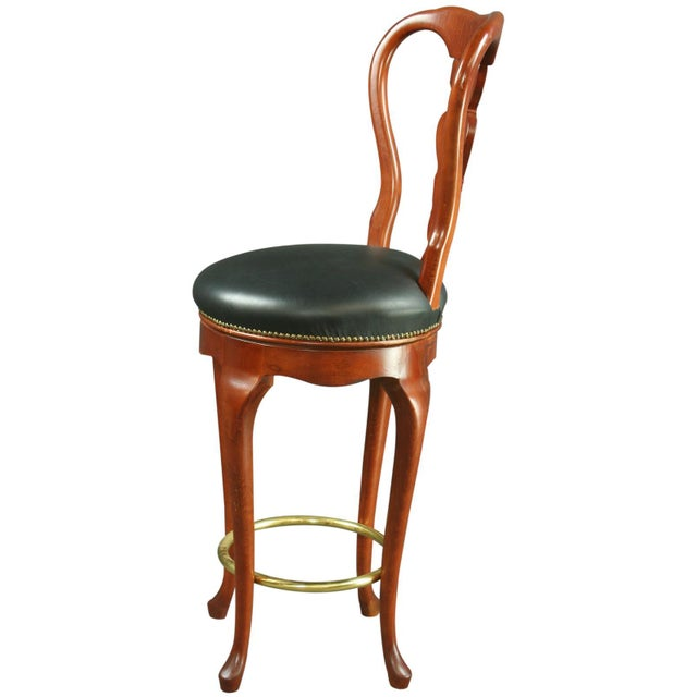 Queen Anne New Swivel Bar Stools - Pair - Image 4 of 6