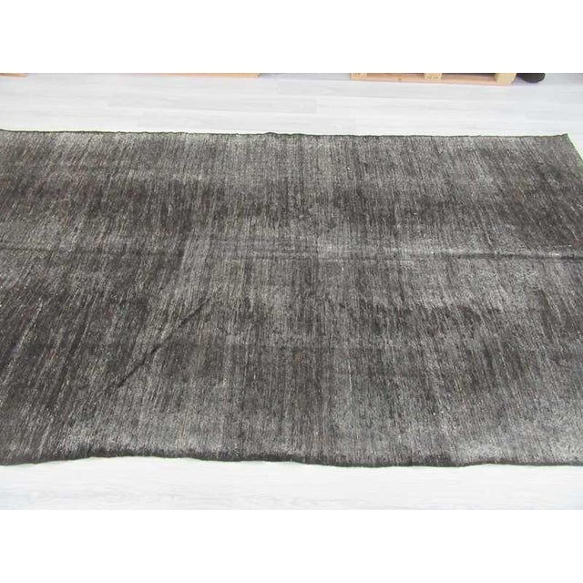 Vintage Black Turkish Goat Hair Kilim Rug