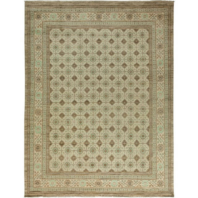 """New Khotan Hand Knotted Area Rug - 9'2"""" x 11'6"""" - Image 1 of 3"""