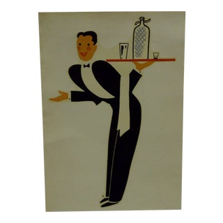 "1930s Vintage Decal / Wall Decoration ""The Waiter"" the Meyercord Co. Chicago"