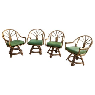 Mid-Modern Bamboo Rattan Swivel Club Chairs - 4