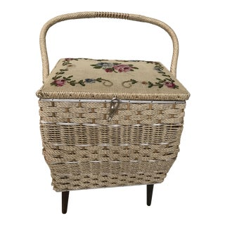 Vintage Rattan Sewing Box With Needlepoint Lid