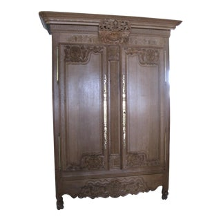 Solid Oak, Hand Carved Antique Armoire