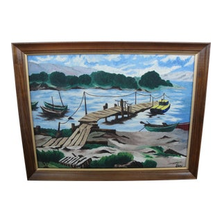 Vintage Boat and Dock Oil on Board Painting