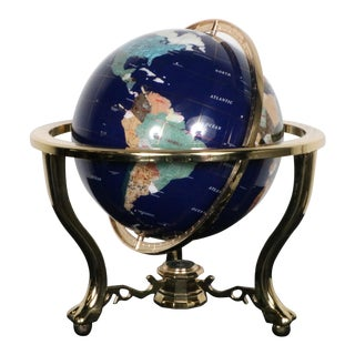Stone Globe & Compass on Brass Stand